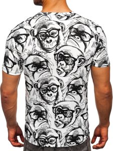 Біла чоловіча футболка з принтом Bolf 14917
