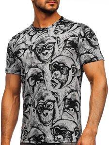 Сіра чоловіча футболка з принтом Bolf 14929