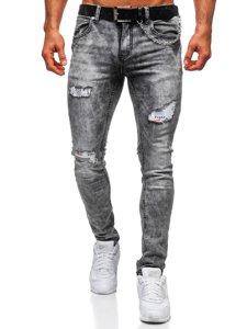 Сірі чоловічі джинси regular fit з ременем Bolf 6038S0