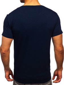Темно-синя чоловіча футболка з принтом Bolf Y70006