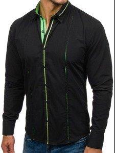 Чоловіча елегантна сорочка з довгим рукавом чорно-зелена Bolf 2964