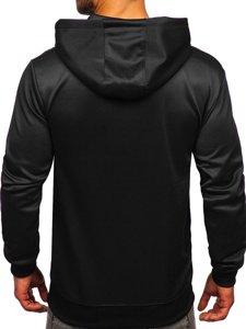 Чорна чоловіча толстовка з капюшоном і принтом Bolf B10113