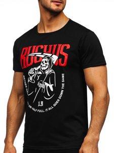 Чорна чоловіча футболка з принтом Bolf KS2633